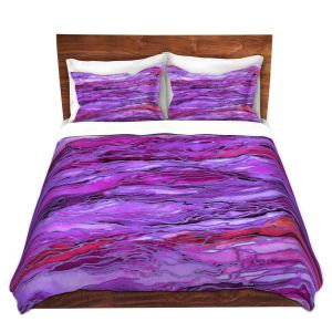 Artistic Duvet Covers and Shams Bedding | Julia Di Sano - Marble Idea Purple Red