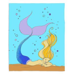 Decorative Fleece Throw Blankets   Julia Di Sano - Mermaid Nap Aqua   Blonde Mermaid Ocean Swimming