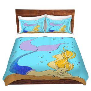 Artistic Duvet Covers and Shams Bedding | Julia Di Sano - Mermaid Nap Aqua | Blonde Mermaid Ocean Swimming