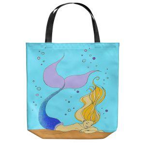 Unique Shoulder Bag Tote Bags | Julia Di Sano - Mermaid Nap Aqua | Blonde Mermaid Ocean Swimming
