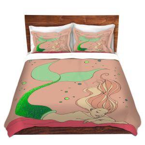 Artistic Duvet Covers and Shams Bedding | Julia Di Sano - Mermaid Nap Dusty Rose | Blonde Mermaid Ocean Swimming