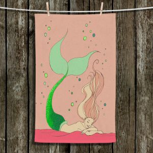 Unique Hanging Tea Towels | Julia Di Sano - Mermaid Nap Dusty Rose