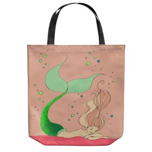 Unique Shoulder Bag Tote Bags | Julia Di Sano - Mermaid Nap Dusty Rose | Blonde Mermaid Ocean Swimming