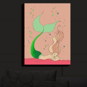 Nightlight Sconce Canvas Light | Julia Di Sano - Mermaid Nap Dusty Rose | Blonde Mermaid Ocean Swimming