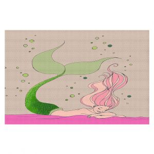 Decorative Floor Covering Mats | Julia Di Sano - Mermaid Nap Gray | Blonde Mermaid Ocean Swimming