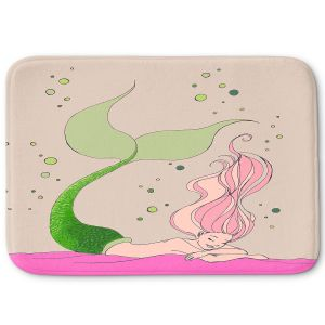 Decorative Bathroom Mats | Julia Di Sano - Mermaid Nap Gray | Blonde Mermaid Ocean Swimming