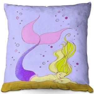 Throw Pillows Decorative Artistic | Julia Di Sano - Mermaid Nap Lavender | Blonde Mermaid Ocean Swimming