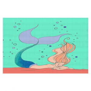 Decorative Floor Covering Mats | Julia Di Sano - Mermaid Nap Mint | Blonde Mermaid Ocean Swimming
