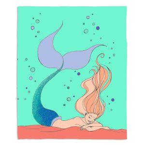Decorative Fleece Throw Blankets | Julia Di Sano - Mermaid Nap Mint | Blonde Mermaid Ocean Swimming