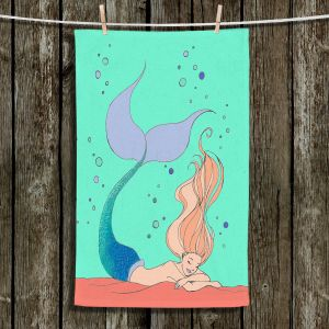 Unique Hanging Tea Towels   Julia Di Sano - Mermaid Nap Mint