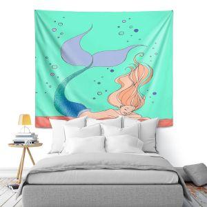 Artistic Wall Tapestry | Julia Di Sano - Mermaid Nap Mint | Blonde Mermaid Ocean Swimming