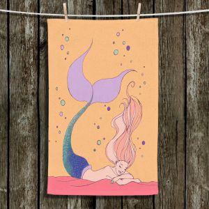 Unique Bathroom Towels | Julia Di Sano - Mermaid Nap Peach