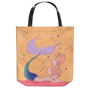 Unique Shoulder Bag Tote Bags | Julia Di Sano - Mermaid Nap Peach | Blonde Mermaid Ocean Swimming
