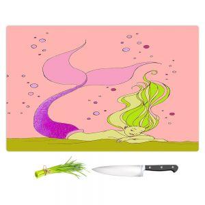 Artistic Kitchen Bar Cutting Boards | Julia Di Sano - Mermaid Nap Pink | Blonde Mermaid Ocean Swimming