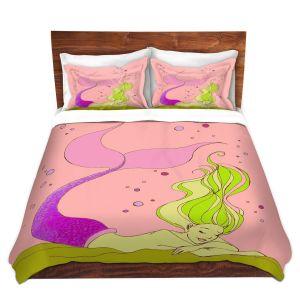 Artistic Duvet Covers and Shams Bedding | Julia Di Sano - Mermaid Nap Pink | Blonde Mermaid Ocean Swimming