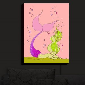 Nightlight Sconce Canvas Light | Julia Di Sano - Mermaid Nap Pink | Blonde Mermaid Ocean Swimming