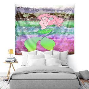 Artistic Wall Tapestry | Julia Di Sano - Mermaid Pearl 2 | Blonde Mermaid Ocean Swimming