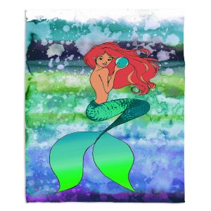 Decorative Fleece Throw Blankets | Julia Di Sano - Mermaid Pearl 4 | Blonde Mermaid Ocean Swimming