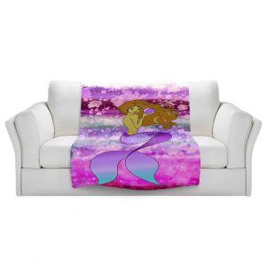 Artistic Sherpa Pile Blankets   Julia Di Sano - Mermaid Pearl 5   Blonde Mermaid Ocean Swimming