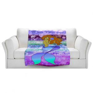 Artistic Sherpa Pile Blankets   Julia Di Sano - Mermaid Pearl 6   Blonde Mermaid Ocean Swimming