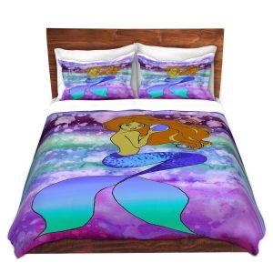 Artistic Duvet Covers and Shams Bedding | Julia Di Sano - Mermaid Pearl 6 | Blonde Mermaid Ocean Swimming