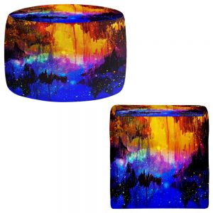 Round and Square Ottoman Foot Stools | Julia Di Sano - Misty Cavern