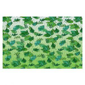 Decorative Floor Covering Mats | Julia Di Sano - Ombre Autumn Green Aqua | Autumn Leaves pattern