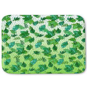 Decorative Bathroom Mats | Julia Di Sano - Ombre Autumn Green Aqua | Autumn Leaves pattern