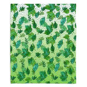 Artistic Sherpa Pile Blankets | Julia Di Sano - Ombre Autumn Green Aqua | Autumn Leaves pattern