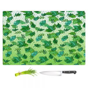 Artistic Kitchen Bar Cutting Boards | Julia Di Sano - Ombre Autumn Green Aqua | Autumn Leaves pattern