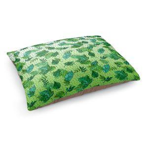 Decorative Dog Pet Beds | Julia Di Sano - Ombre Autumn Green Aqua | Autumn Leaves pattern