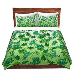 Artistic Duvet Covers and Shams Bedding | Julia Di Sano - Ombre Autumn Green Aqua | Autumn Leaves pattern