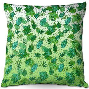 Decorative Outdoor Patio Pillow Cushion | Julia Di Sano - Ombre Autumn Green Aqua | Autumn Leaves pattern