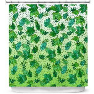 Premium Shower Curtains | Julia Di Sano - Ombre Autumn Green Aqua