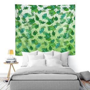 Artistic Wall Tapestry | Julia Di Sano - Ombre Autumn Green Aqua | Autumn Leaves pattern