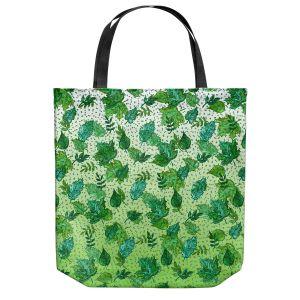 Unique Shoulder Bag Tote Bags | Julia Di Sano - Ombre Autumn Green Aqua | Autumn Leaves pattern