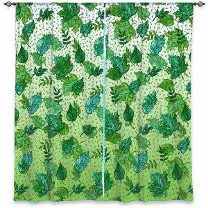 Decorative Window Treatments | Julia Di Sano - Ombre Autumn Green Aqua | Autumn Leaves pattern