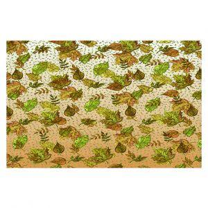 Decorative Floor Covering Mats | Julia Di Sano - Ombre Autumn Green Tan | Autumn Leaves pattern