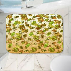 Decorative Bathroom Mats   Julia Di Sano - Ombre Autumn Green Tan   Autumn Leaves pattern