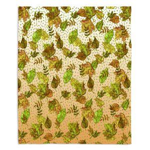 Decorative Fleece Throw Blankets | Julia Di Sano - Ombre Autumn Green Tan | Autumn Leaves pattern