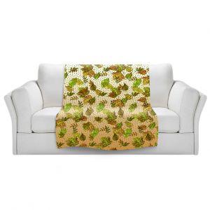 Artistic Sherpa Pile Blankets   Julia Di Sano - Ombre Autumn Green Tan   Autumn Leaves pattern