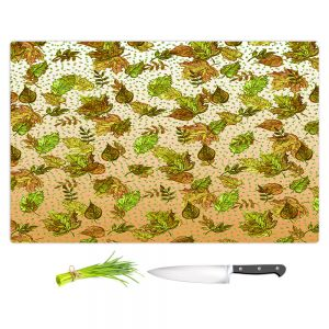 Artistic Kitchen Bar Cutting Boards | Julia Di Sano - Ombre Autumn Green Tan | Autumn Leaves pattern