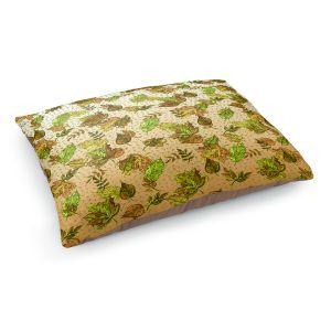 Decorative Dog Pet Beds | Julia Di Sano - Ombre Autumn Green Tan | Autumn Leaves pattern