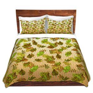 Artistic Duvet Covers and Shams Bedding | Julia Di Sano - Ombre Autumn Green Tan | Autumn Leaves pattern