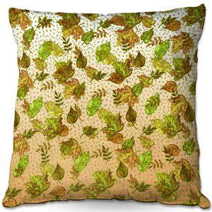 Decorative Outdoor Patio Pillow Cushion | Julia Di Sano - Ombre Autumn Green Tan | Autumn Leaves pattern