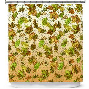 Premium Shower Curtains   Julia Di Sano - Ombre Autumn Green Tan