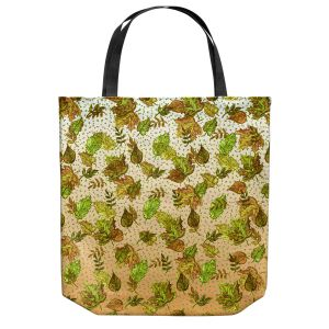Unique Shoulder Bag Tote Bags | Julia Di Sano - Ombre Autumn Green Tan | Autumn Leaves pattern