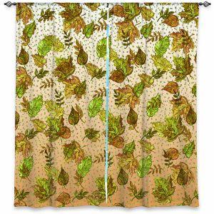 Decorative Window Treatments | Julia Di Sano - Ombre Autumn Green Tan | Autumn Leaves pattern
