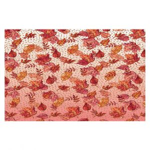 Decorative Floor Covering Mats | Julia Di Sano - Ombre Autumn Pink red | Autumn Leaves pattern