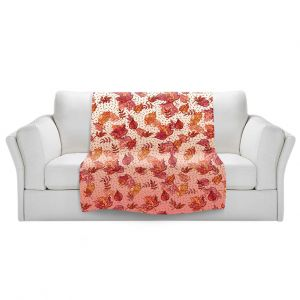 Artistic Sherpa Pile Blankets   Julia Di Sano - Ombre Autumn Pink red   Autumn Leaves pattern